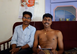 Prabakaran (l) and Golm (caught in a rare smile), co-managers of the Rama Palace in Rameshwarum